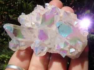 Amazing Opal Shimmer ANGEL AURA QUARTZ CLUSTER - Earth Family Crystals