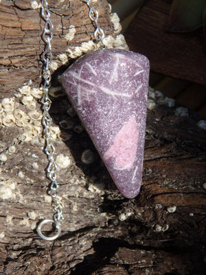 RUBELLITE & LILAC LEPIDOLITE GEMSTONE PENDULUM - Earth Family Crystals