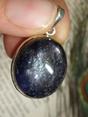 Deep Glowing Midnight Blue KYANITE GEMSTONE PENDANT In Sterling Silver (Includes Silver Chain) - Earth Family Crystals