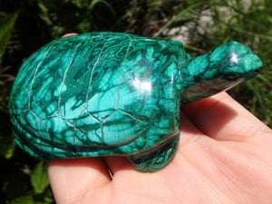 Amazing Large Green MALACHITE TURTLE CARVING - Earth Family Crystals