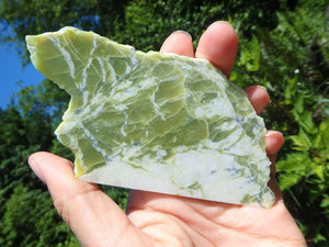 LIME GREEN HEALERITE HANDHELD SLICE - Earth Family Crystals