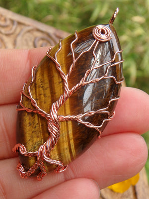 Tree Of Life Wire Wrapped Tiger Eye Pendant