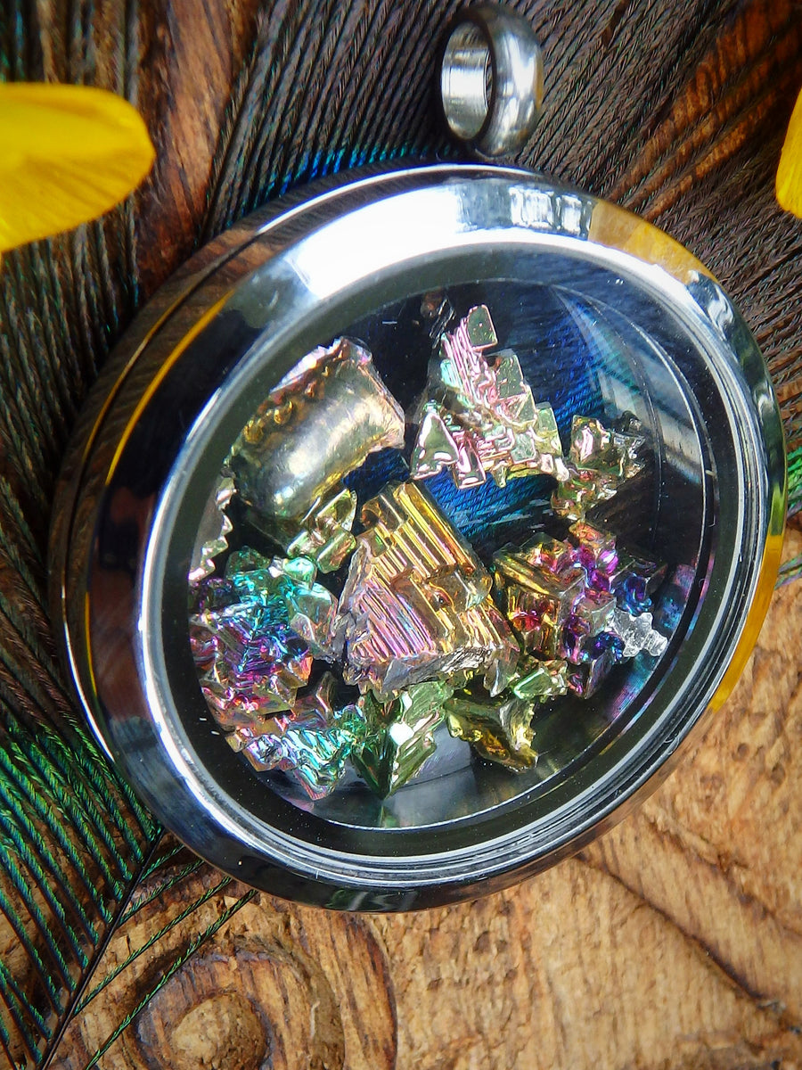 Rainbow Bismuth Floating in Locket Style Stainless Steel Pendant (Includes Silver Chain)