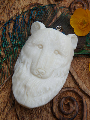 Intricately Carved Majestic Bear in Bone Pendant (Includes Silver Chain)