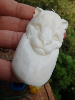 Intricately Carved Beautiful Cougar in Bone Pendant (Includes Silver Chain) - Earth Family Crystals