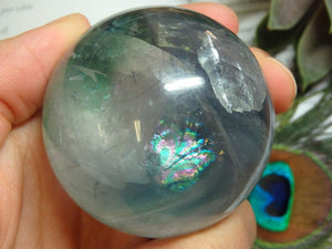 Huge Rainbows FLUORITE GEMSTONE SPHERE (Includes Free Stand) - Earth Family Crystals