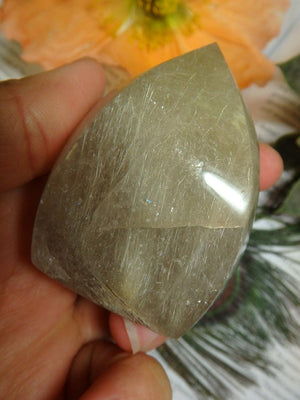 Gorgeous Golden Rutilated Quartz Flame Carving From Brazil - Earth Family Crystals