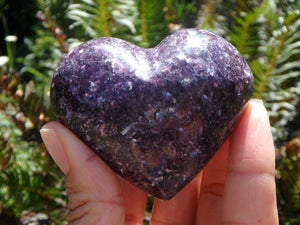 Deep Lilac Purple LEPIDOLITE GEMSTONE HEART With Pink Rubellite Inclusions - Earth Family Crystals