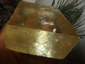 Rainbow & Light Filled Citrine Optical Calcite Specimen - Earth Family Crystals