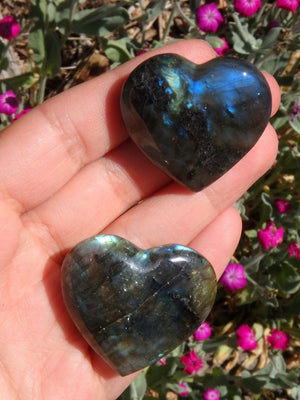 Adorable Mini Labradorite Gemstone Heart Set 2 - Earth Family Crystals