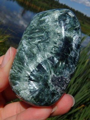 Angelic Angel wings & Green Seraphinite Specimen With Caves - Earth Family Crystals