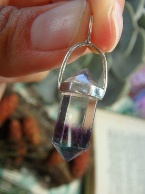 Aqua Blue, Purple & Clear Double Terminated RAINBOW FLUORITE GEMSTONE PENDANT In Sterling Silver (Includes Silver Chain) - Earth Family Crystals