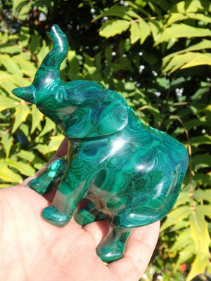 Absolutely Splendid Large Malachite Elephant Carving - Earth Family Crystals