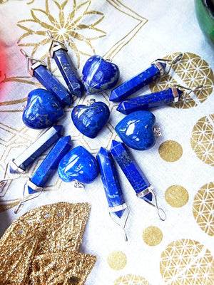 Vibrant Celestial Blue Lapis Lazuli Gemstone Pendant In Sterling Silver - Earth Family Crystals