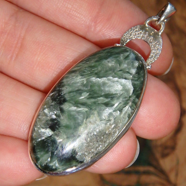 Feathery Silver Inclusions Seraphinite Sterling Silver Pendant (Includes Silver Chain)