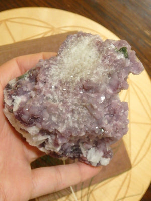 Amazing Large & Natural Deep Green Tourmaline Nestled in Lilac Lepidolite Cluster - Earth Family Crystals