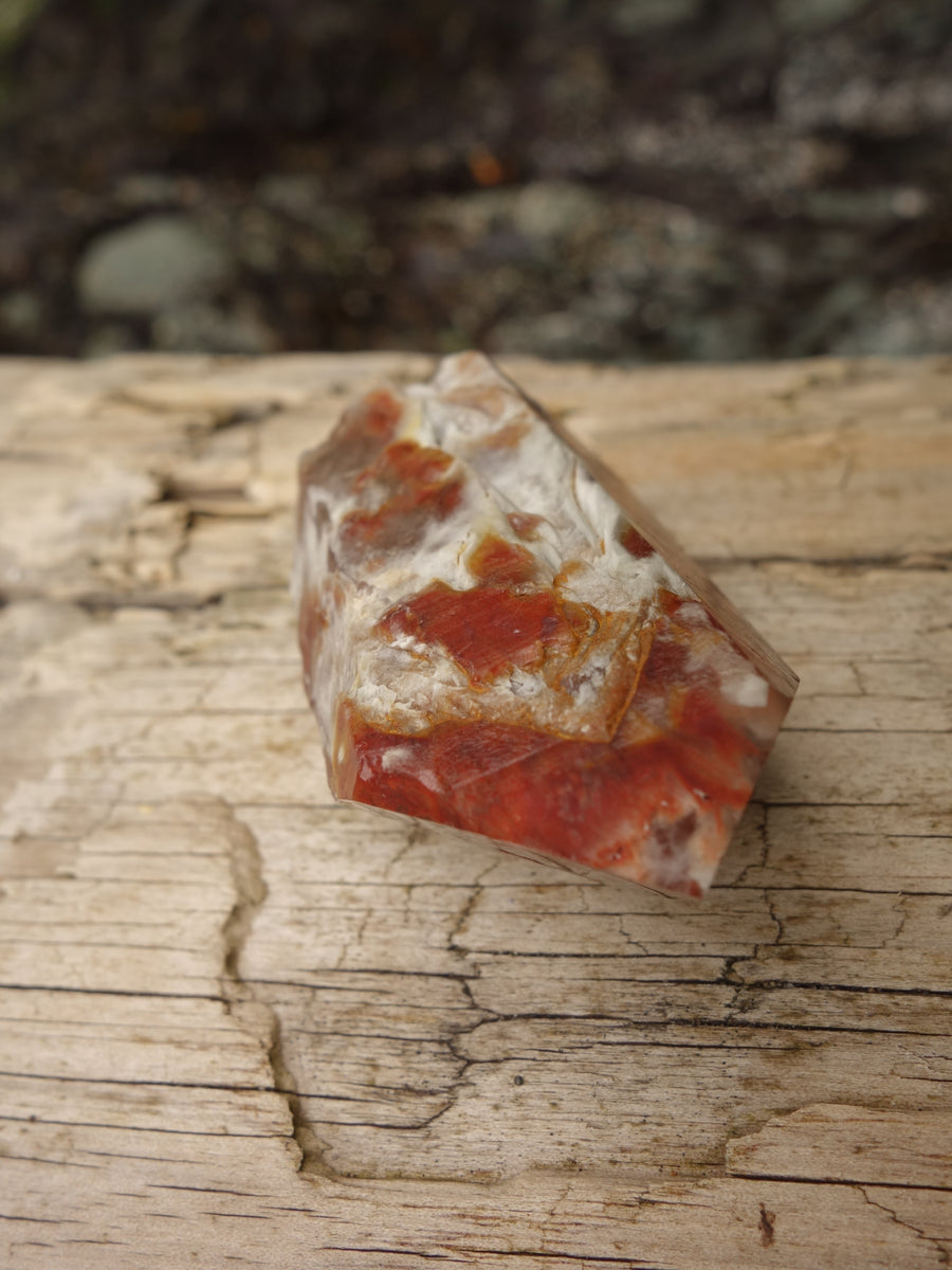 Intense Deep Red Inclusions Angel Phantom Quartz Natural Point From Brazil