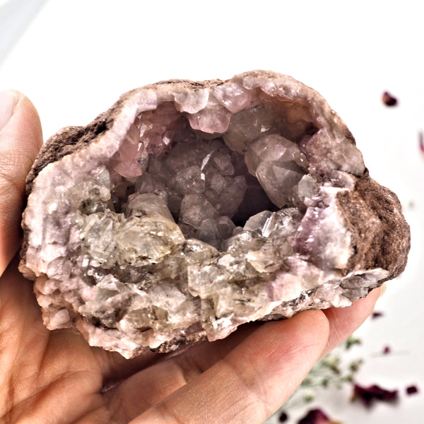 Large Druzy  Pink Amethyst & Clear Calcite Geode Specimen From Patagonia