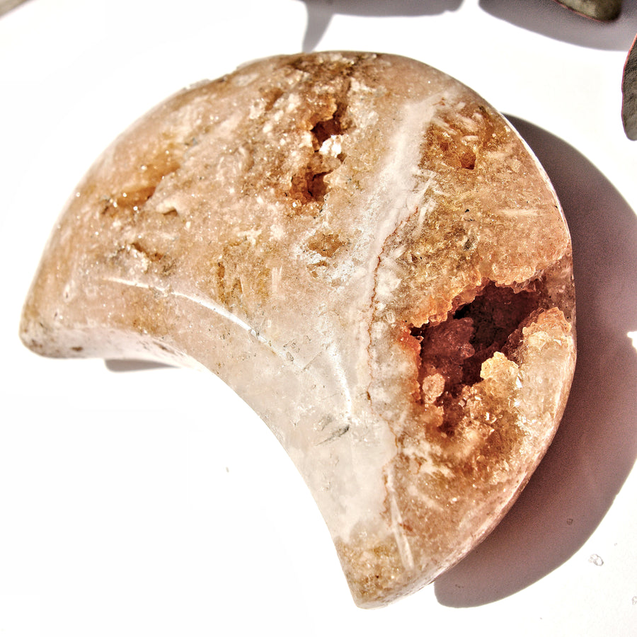 Rare Find! Incredible Large Druzy Geode Pink Amethyst Crescent Moon Carving From Patagonia #4