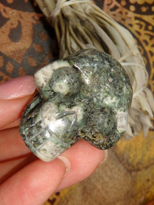 Forest Green Preseli Bluestone Skull Carving - Earth Family Crystals