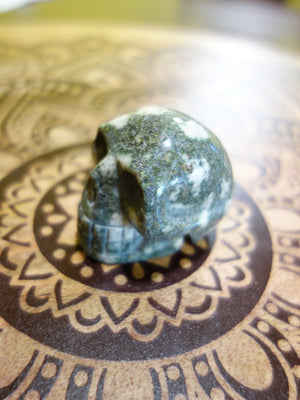 Speckled White Preseli Bluestone Skull Carving - Earth Family Crystals