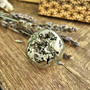Adorable Mini Pyrite Sphere With Sparkling Caves