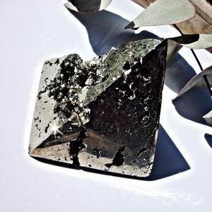 Gorgeous Deep Sparkling Geode Cave Pyrite Pyramid Carving