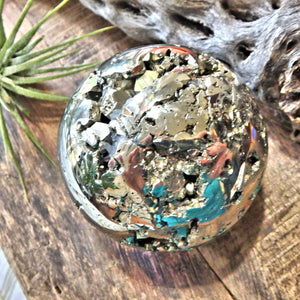Caves & Sparkle Golden Pyrite Sphere Carving With Quartz Point Inclusions