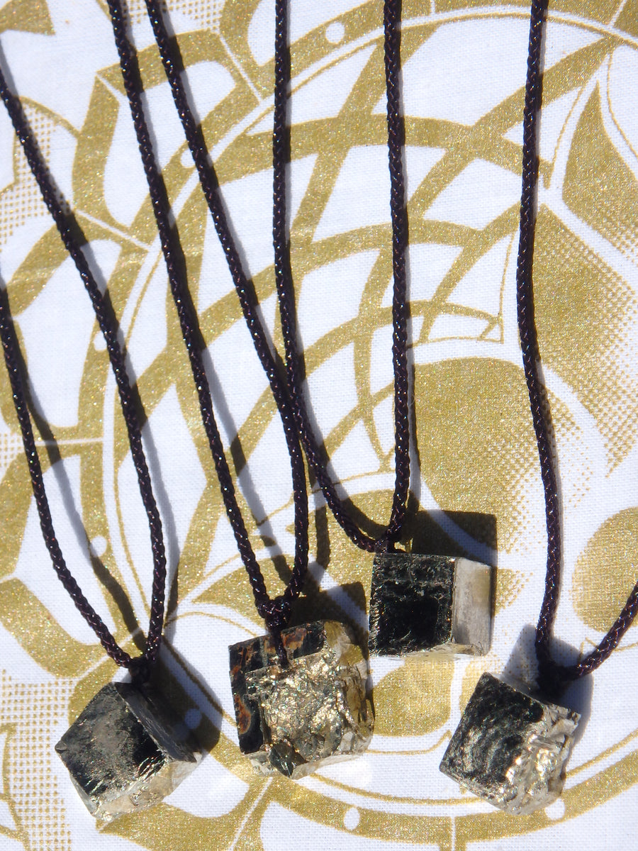 Natural Golden Pyrite Floating Necklace on Adjustable Cord