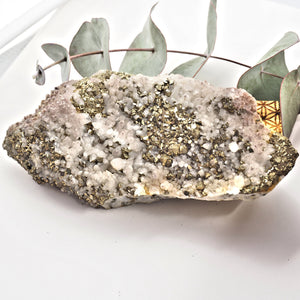 Chunky Pyrite & Hematite Included Quartz Points Nestled on Rock Matrix