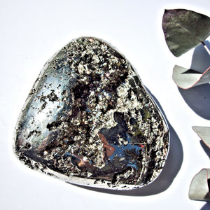 Stunning Deep Golden Geode Pyrite Heart Carving From Peru