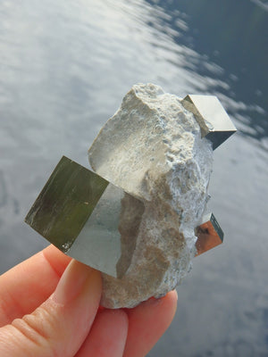 Fantastic Triple Cubes Pyrite Natural Cluster From Spain - Earth Family Crystals