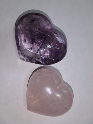 Set of 2~Pink Rose Quartz & Optical Purple Amethyst Small Heart Set - Earth Family Crystals