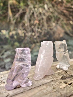 Set of 3 Cute Little Owl Carvings in Rose Quartz, Amethyst & Clear Quartz