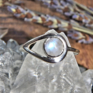 Ideal for Stacking~Dainty Stone Rainbow Moonstone Elegant Sterling Silver Ring (Size 7, 8)