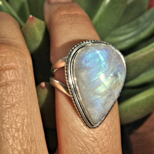 Pretty Raindrop Rainbow Moonstone Ring in Sterling Silver (Size 8.5)