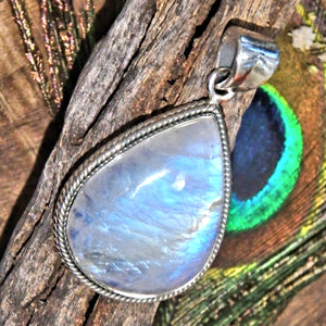 Frosted Blue Flashes Gorgeous Rainbow Moonstone Pendant in Sterling Silver (Includes Silver Chain) 3