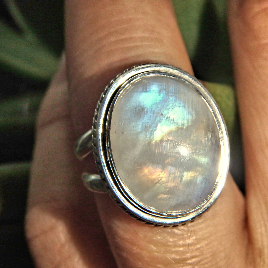 Orange & Blue Flashes Rainbow Moonstone Ring in Sterling Silver (Size 6)
