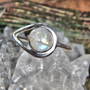 Perfect for Stacking~Pretty Rainbow Moonstone Sterling Silver Ring (Size 8)