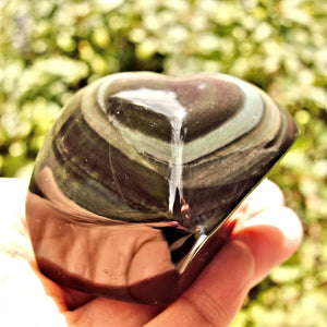 Chunky Standing Rainbow Obsidian Heart Carving From Mexico
