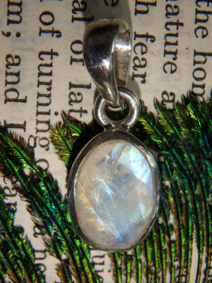 Super Yellow & Blue Flashes Faceted Rainbow Moonstone Pendant in Sterling Silver (Includes Silver Chain) - Earth Family Crystals