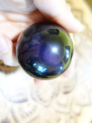 Pretty Burgundy Glow Rainbow Obsidian Sphere - Earth Family Crystals