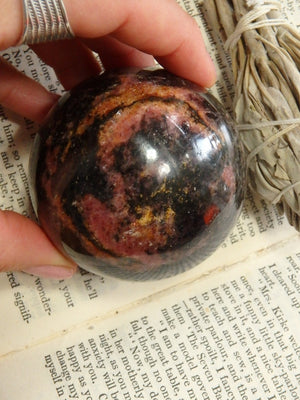 Shiny Black & Pink Rhodonite Large Sphere Carving - Earth Family Crystals