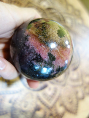 XL Cranberry Red Patterns Rhodonite Sphere Carving - Earth Family Crystals