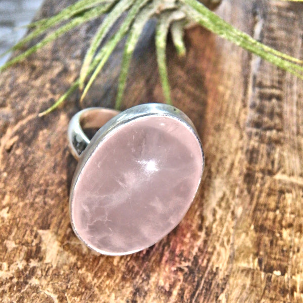 The Ultimate Heart Healer Rose Quartz Sterling Silver Ring (Size 9.5)