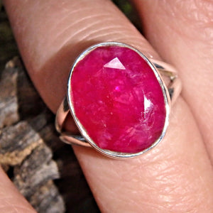 Deep Burgundy Faceted Ruby Gemstone Ring in Sterling Silver (Size 6)