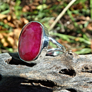 Lush Ruby Faceted Ring in Sterling Silver (Size 9)