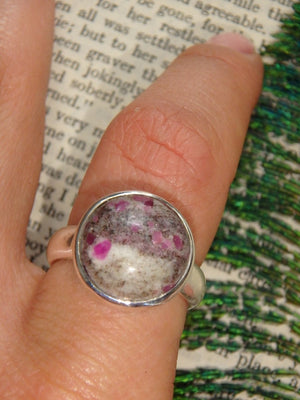 Fantastic  Ruby Feldspar Ring In Sterling Silver (Size 8.5) - Earth Family Crystals
