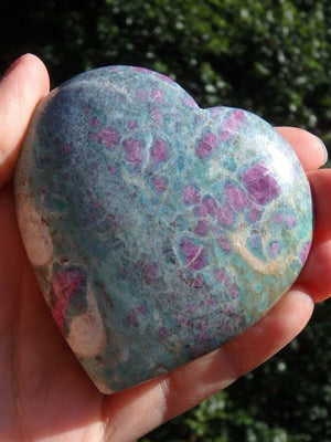 Amazing Color Depth! Ruby Fuschite Gemstone Heart Carving - Earth Family Crystals