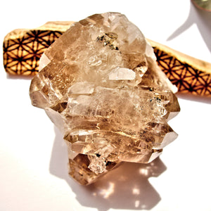 Stunning Elestial Rutilated Smoky Quartz Natural Double Terminated Cluster From Brazil